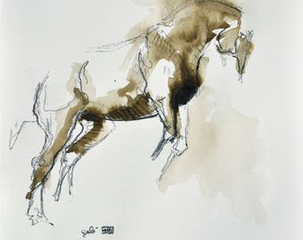 Equine Art, Animal, Modern Original Fine Art, Sepia Ink and chalk Drawing of Horse on Paper, Expressive Art
