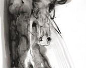 Alert 4 - Black ink Horse...