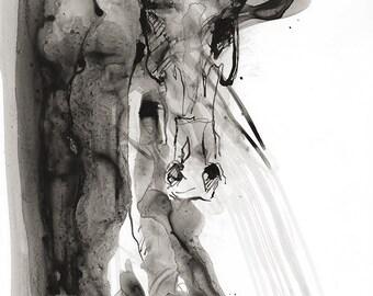Alert 4 - Black ink Horse Original Drawing on Paper