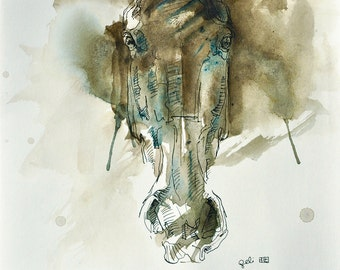 Equine Art, Animal, Modern Original Fine Art, Acrylic, Ink and Pen Drawing of Horse Head on Paper, Expressive Art, Horse Portrait