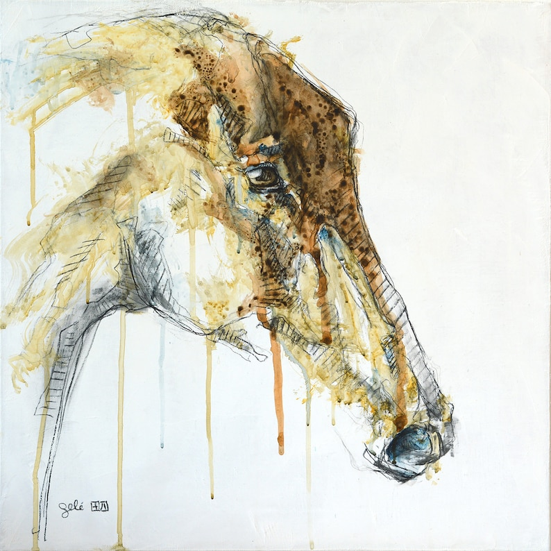 Acrylic Painting of a Horse Head Contemporary Original Fine image 1