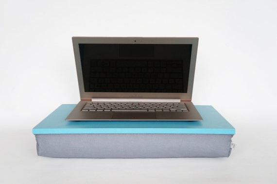 Serving Tray Or Laptop Lap Desk With Support Pillow Aqua Blue With Grey Cotton Pillow