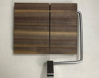 Wood and Wire cheese slicing / cutting board Walnut construction