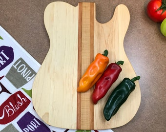 Rocking guitar cutting board Perfect gift for any musician , Awesome Tiger maple