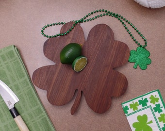 Saint Patrick's Day Walnut Four Leaf Clover Cutting Board 2016101