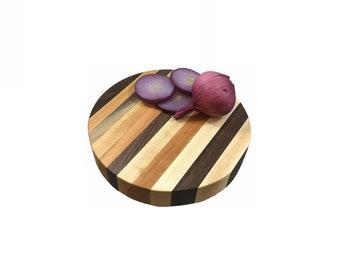 Perfect size round Cherry, Walnut and Maple butcher block side grain board
