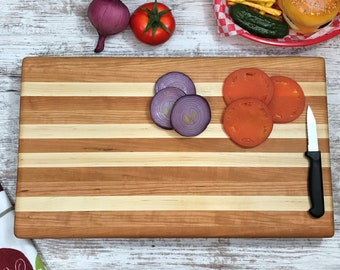 "Beautiful mix of Cherry and Maple butcher block 20"" Side grain board"