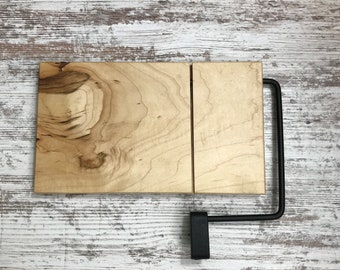 Wood and Wire cheese slicing / cutting board Figured Maple construction