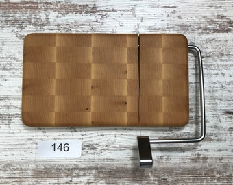 Wood and Wire cheese slicing /  end grain cutting board  10 inch