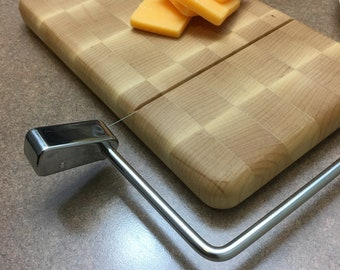 Wood and Wire cheese slicer /  end grain cutting board  10 inch