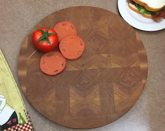 "1 .5 inch Thick and Heavy Cherry / Maple Cutting Board  Butcher Block, 15.5 "" Large cutting surface"