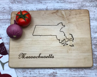 Massachusetts state maple cutting board large surface