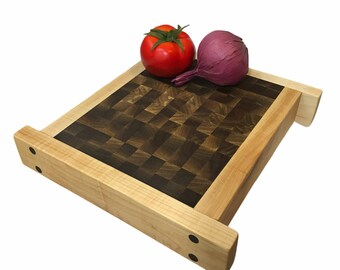 Oriental inspiration Double sided Tiger Maple and Walnut end grain Butcher Block cutting board