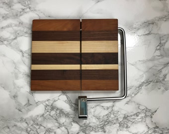 Wood and Wire cheese slicing / cutting board  Maple, Cherry and Walnut construction