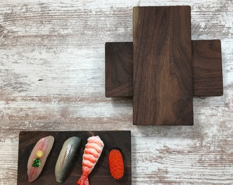 Set of four Sushi Serving Trays beautiful Walnut and Maple construction unique natural design