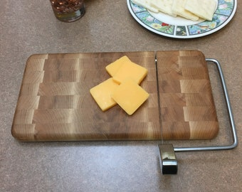 Wood and Wire cheese slicing /  end grain cutting board  11 inch