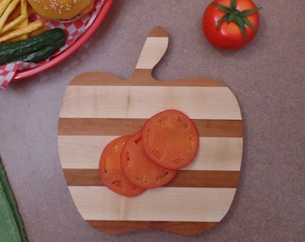 Cutting Board Great Gift !  Cherry and Maple Apple Cutting Board