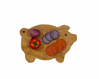 Pig Cutting Board with plenty of cutting surface cherry pig