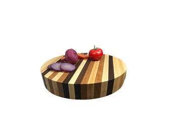 Super sized round Cherry, Walnut and Maple butcher block side grain board