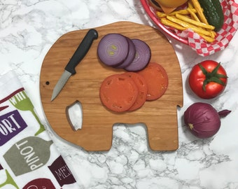 Great Gift!!!  Jumbo Cherry hardwood Elephant Cutting Board gift box available