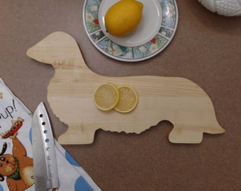 Cheese Board Long Hair Dachshund Great gift Laminated maple construction