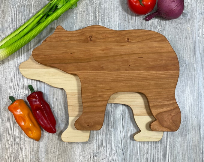Featured listing image: Big Bear Maple or Cherry cutting board perfect for your log cabin or any rustic retreat.