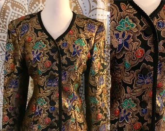 VTG 80s Gold Ornate Velvet Embroidered Oriental Dress Party Jacket Top S/M