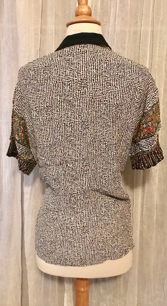 Vintage 80s Funky Beaded Tie New Wave ABSTRACT Boyfriend Shirt Top Blouse M