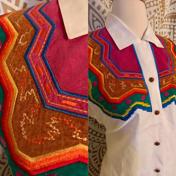 6c353c63647ed VTG 90s White Colorful WESTERN Embroidered Southwestern Aztec