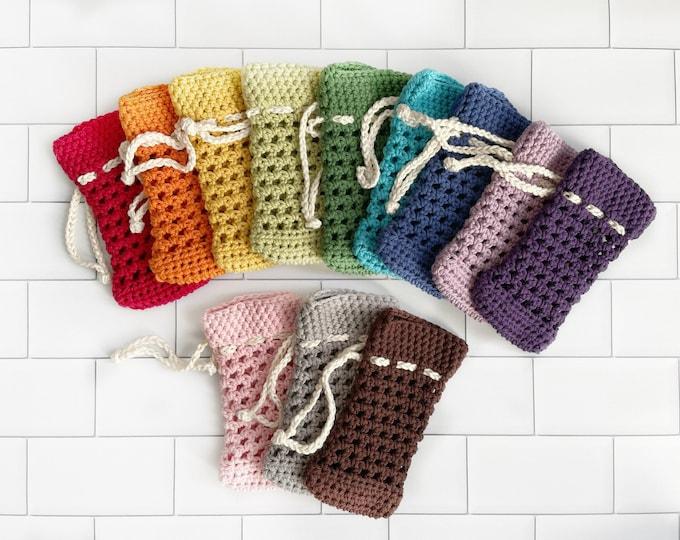 Soap Saver - 100% Cotton - Solid Color - Soap Saver Bag - Crochet Soap Bag