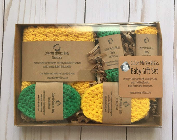 CLEARANCE - Baby Gift Set - washcloth - pacifier clip - teether - crochet - 100% cotton