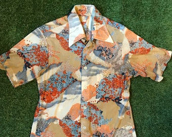 1970s Floral Print Disco Party Shirt -Size Small