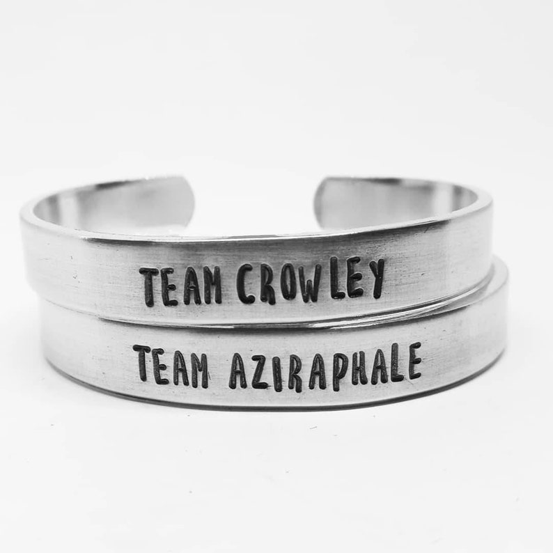 Team Crowley/Team Aziraphale: Good Omens hand stamped fangirl image 0