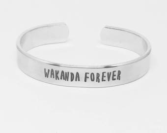 Wakanda Forever: hand stamped aluminum Black Panther Marvel movie quote cuff by Fandomonium Designs,custom gift, can be personalized