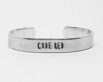 """CODE RED: Stranger Things Season 3 inspired unisex fandom aluminum 6"""" cuff bracelet"""