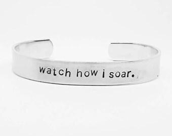 Watch how I soar: Hand Stamped Aluminum Firefly/Serenity fandom cuff bracelet