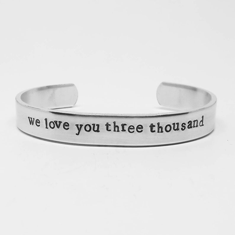 Avengers Endgame quote aluminum cuff: we love you three image 0