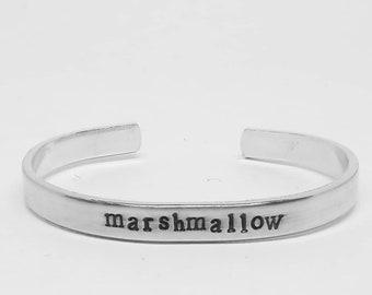 marshmallow: Veronica Mars inspired hand stamped aluminum cuff  bracelet