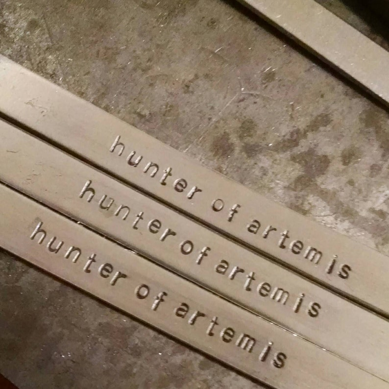 Hunter of Artemis: Hand Stamped Aluminum Heroes of Olympus Percy Jackson  cuff