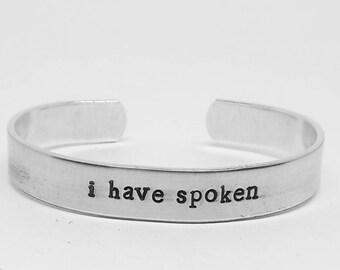 I have spoken: Mandolorian inspired hand stamped Star Wars aluminum cuff bracelet