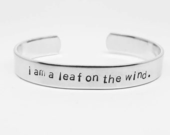 I am a leaf on the wind: Hand Stamped Aluminum Firefly/Serenity fandom cuff bracelet
