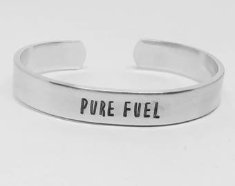 "PURE FUEL: Stranger Things Season 2 inspired unisex fandom aluminum 6"" cuff bracelet"