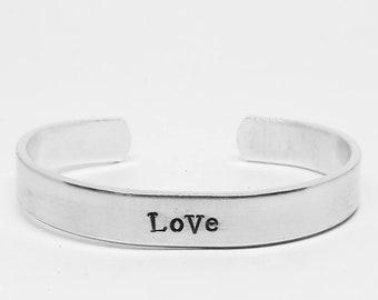 LoVe: Veronica Mars inspired hand stamped aluminum cuff  bracelet