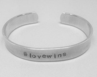 lovewins: hand stamped aluminum cuff LGBT marriage equality bracelet