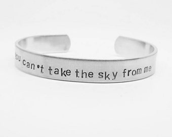 You can't take the sky from me: Hand Stamped Aluminum Firefly/Serenity fandom cuff bracelet