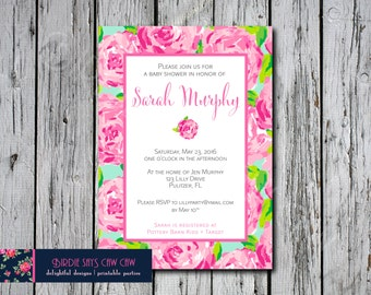 Lilly Pulitzer Invitation First Impression Inspired Graduation Bridal Shower Baby Birthday Sweet Sixteen