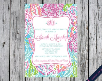 Lilly Pulitzer Baby Shower Invitation Lets Cha Inspired Monogram Graduation Bridal Birthday Sweet Sixteen