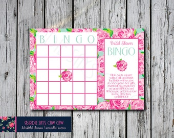 Lilly Pulitzer First Impression Printable Bridal Shower BINGO Party Game