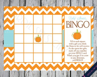 Little Pumpkin Printable Baby Shower BINGO Party Game