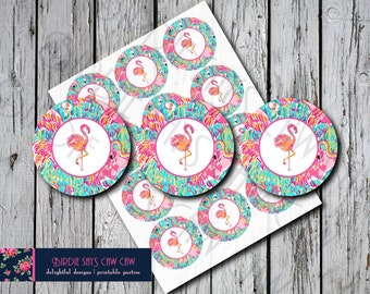 Lilly Pulitzer Peel and Eat Flamingo Party Circles Favor Tags Gift Tags Thank You Tags Cupcake Toppers